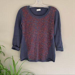 Wrap London Metallic Daisy Blue Sweater Medium